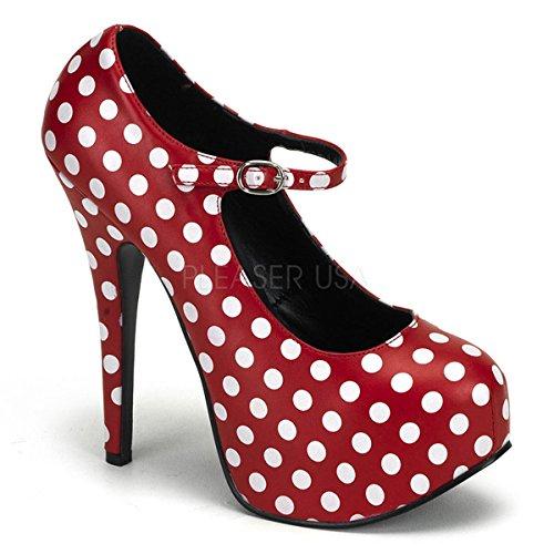 Pleaser Bordello Women's Teeze-08 Platform Pump,Red PU/White Polka Dots,7 M US -