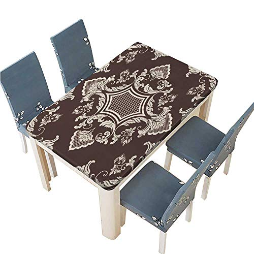 - PINAFORE Decorative Tablecloth Vector Damask Seamless Pattern Element Elegant Luxury Texture for Wallpapers Backgrounds Table Cover for Dining Room and Party W41 x L80.5 INCH (Elastic Edge)