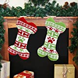 GBSELL Pet Dog Christmas Stockings Bone Shape
