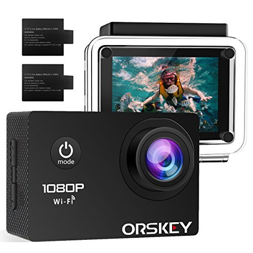 ORSKEY Action Camera 1080P Wifi Underwater Cam Full HD 12MP Sports Camera Waterproof 30m 170 Wide-Angle Lens with 2 Rechargeable Batteries and Mounting Accessory Kits ORSKEY