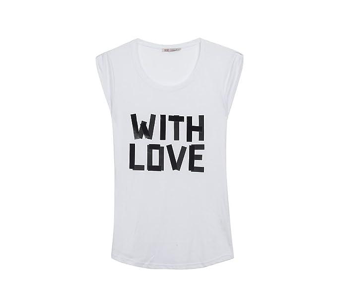lo mas baratas gran venta Venta de liquidación 2019 Camiseta Manga Corta Blanca Mujer BSB Letras with Love ...