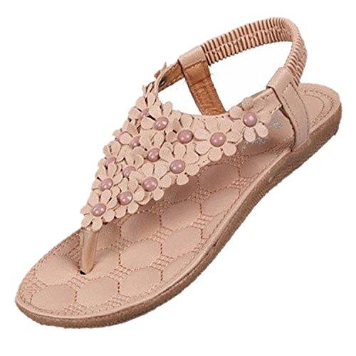 TOOGOO(R) Neue Flip-Flop Sandalen offene Zehe Flip Frauen Schuhe flache Schuhe Boehmen Blume Perlen weiche Aussensohle suess fuer Frauen 668 Beige US5 = EUR35 = Fuesse Laenge 22.5CM