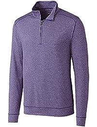 Men's Soft, Performance, Subtle Stripe Shoreline Half-Zip Pullover