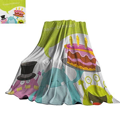 (RenteriaDecor Birthday,Fashion Warm All Season Blanket Pretty Funny Smiling Monsters Saying Happy Birthday Yummy Cake Kids Themed Print Plush Microfiber Blanket)
