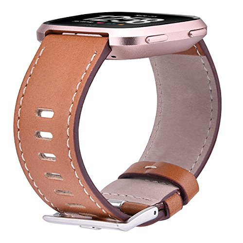 TOROTOP Compatible Fitbit Versa Bands Leather Large, Genuine Leather Replacement Band Bracelet Strap Accessories Wristbands for Fitbit Versa Fitness Smart Watch (Brown, Large) ()