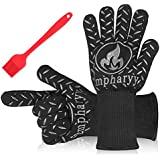 Extreme Heat Resistant BBQ Cooking Gloves - EMPHARYY Heat Insulation Barbecue Grill Gloves, Non-slip Oven Gloves for Smoker, Grilling, Baking