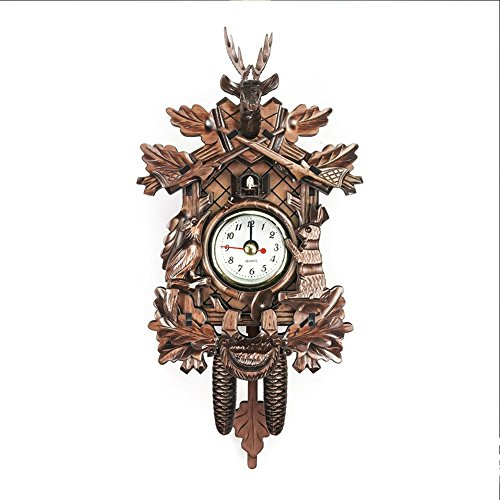 Handcrafted Wood Cuckoo Clock Vivid Large Deer Head Handcrafted Wood Cuckoo Clock Wooden European Style Vintage Wall Clock for Living Room Dreamseeker