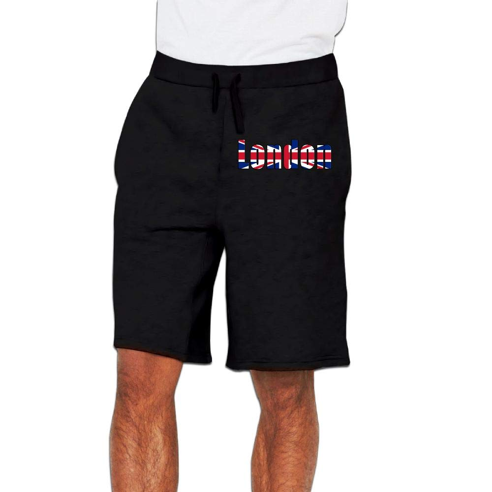 Yecx-1 Mens London Great Britain Flag Jogger Shorts Casual Short