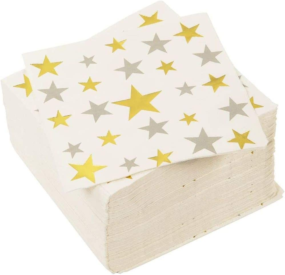 100-Pack Disposable Paper Napkins with Silver and Gold Foil Stars Designs for Holiday and New Year's Eve Parties, 3-Ply, White, 5 X 5 Inches