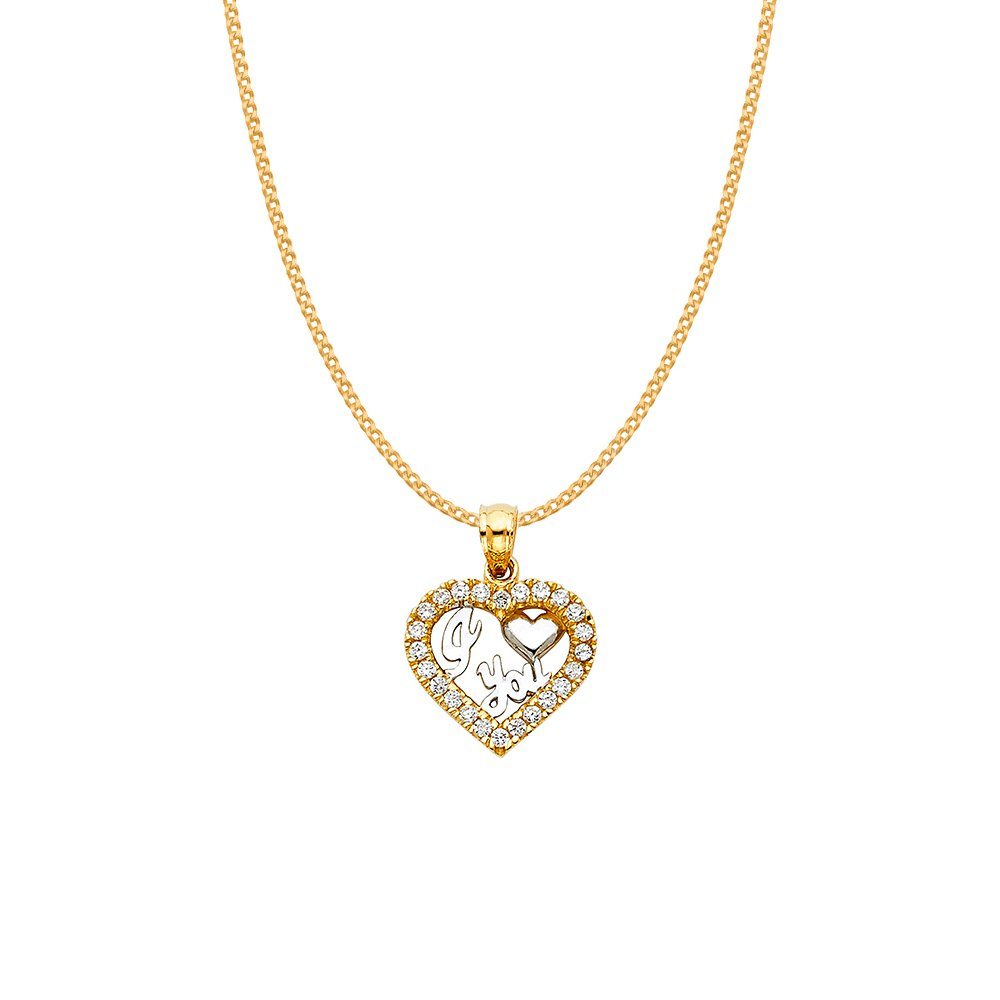 14k Two-tone Gold Cubic Zirconia 'I Love You' Heart Pendant with 0.8-mm Yellow Gold Square Wheat Chain