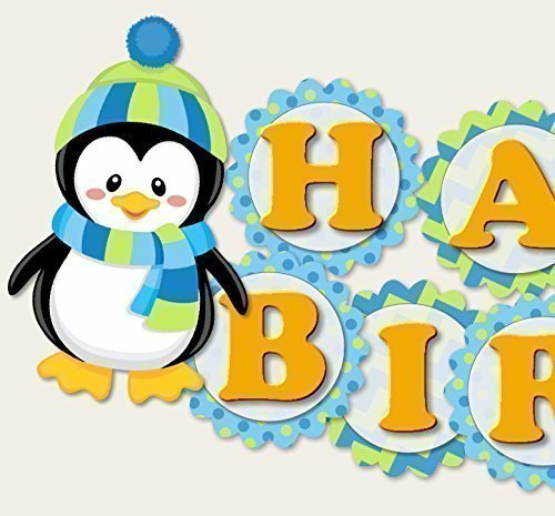 Penguin Birthday Banner Party Decoration Supplies for Boy -