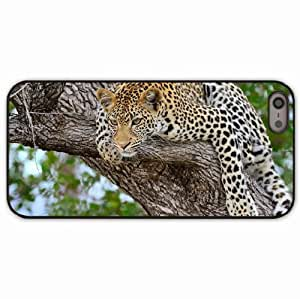 Case For Sam Sung Galaxy S5 Cover Black Hardshell Case leopard tree predator Desin Images Protector Back Cover