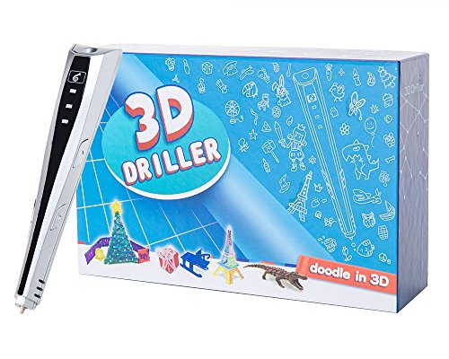 3D Printing Pen, 3D Driller 3D Pen for 3D Printing, Drawing and Doodling with PLA Filaments (Silver) by 3D Driller