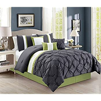 modern 7 piece bedding sage green grey white pin tuck ruffle queen comforter. Black Bedroom Furniture Sets. Home Design Ideas