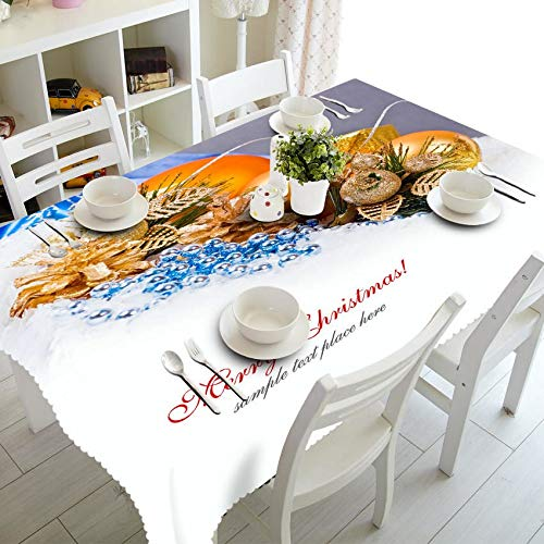 Senisaihon Rectangular 3D Tablecloth Red Exquisite New Year Present Pattern Dustproof Thicken cloth Christmas Party Table cloth  Color 3 B07RTTFNNX