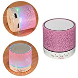 MINI Wireless Bluetooth Speaker,ZHAOCAI usb speakers Portable Music Sound Box Subwoofer hand-free call LED Speaker (pink)