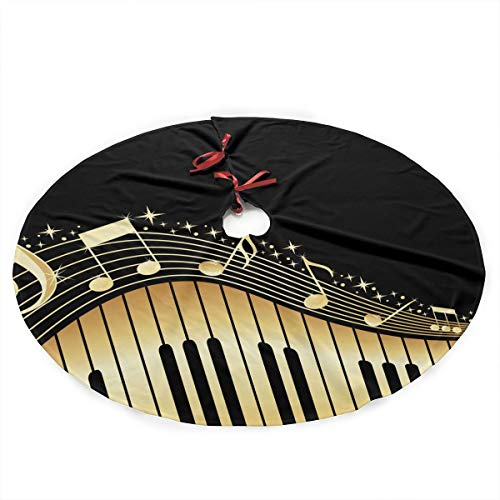Kinekr Fashion Bling Music Note Piano Printed Christmas Tree Skirt 35 Inches Rustic Xmas Holiday Ornaments Traditional Mat for Xmas Party Decoration ()