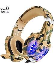VersionTECH. Auriculares Gaming Estéreo Profesional Bass Over-Ear con Micrófono, Luz LED, Bajo Ruido Compatible para PC/Ordenador Portátil/Smartphone/PS4/Nueva Xbox One