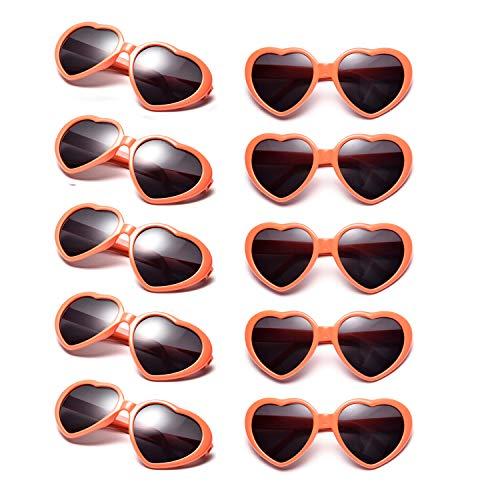 10 Packs Neon Colors Wholesale Heart Sunglasses ()