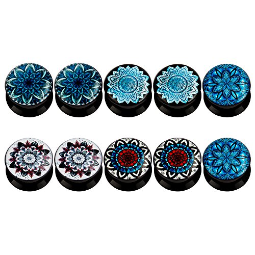 - KUBOOZ(5 Pairs) Frost-Flower Acrylic Ear Plugs Tunnels Gauges Stretcher Piercings