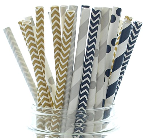 2017 New Years Eve Party Straws (25 Pack) - New Year Party Supplies, Black Gold & Silver Paper Straws, Polka Dot Chevron & (Black Orchid Martini)