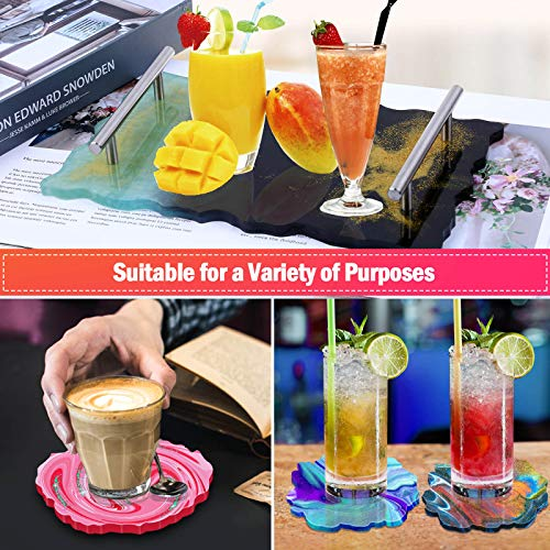 Resin Tray Molds, Thrilez 1Pc Resin Tray Mold Come with 4 Pcs Coaster Molds and 2Pcs Silver Handles for Resin Casting, Home Decoration