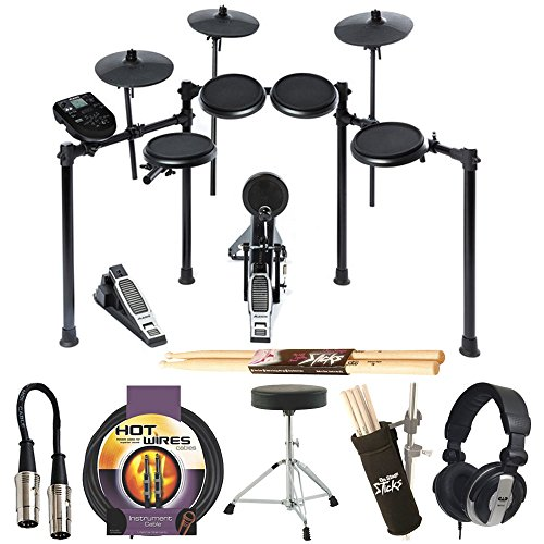 Alesis Nitro Drum Kit, 8-Piece Electronic Kit with Drum Module + CAD Audio MH110 Studio Headphones + On Stage Drum Stick Holder DA100 + Instrument Cable + Braced Drum Throne + Maple Wood 5B Drumsticks by Photo4Less