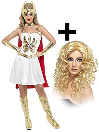 She-Ra 80s Superhero Womens Costume + Wig Ladies Fancy Dress He-Man Cartoon  sc 1 st  Amazon UK & She-Ra 80s Superhero Womens Costume + Wig Ladies Fancy Dress He-Man ...