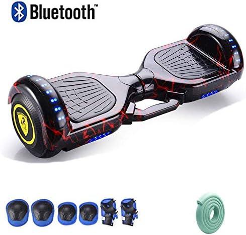 """7"""" ビルドでのBluetoothスピーカー、350Wデュアルモーター、アルミケーススケートボード自己バランススクーター、安全LEDライト、大人子供のスーパーギフトのための保護ツール (Color : E)"""