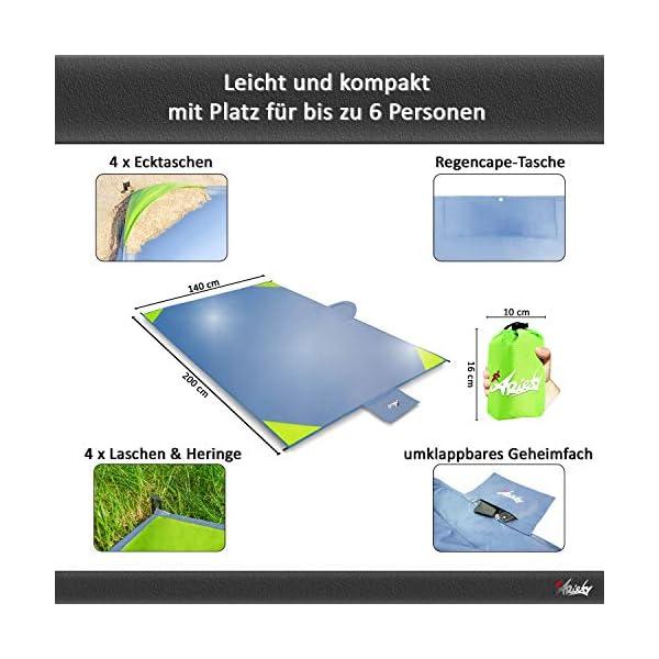 ARiety Picknickdecke wasserdicht Ultraleicht - XXL Outdoor Decke ideal als Stranddecke, Regenponcho oder Sitzunterlage…
