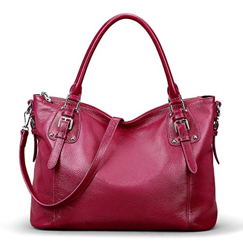 Large Handbag S Bag Body Women's Red Tote Rose Leather Bag Cross Vintage ZONE Genuine Shoulder qUqxfYS