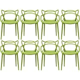 Cheap 2xhome – Set of 8 Green Dining Room Chairs – Modern Contemporary Designer Designed Popular Home Office Work Indoor Outdoor Armchair Living Family Room Kitchen Bed Bedroom Porch Patio Balcony