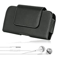 Blackberry Leap / Priv Smartphone Case, Old School Leather Hip Holster w/Belt Clip, Loop [337] + VG Headphones