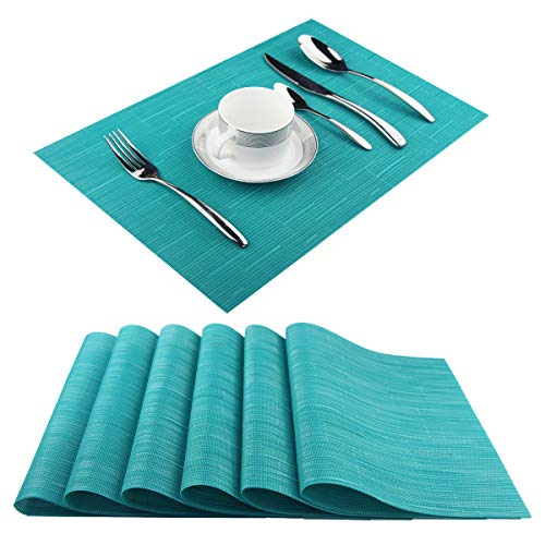 Pigchcy Placemats,Washable Vinyl Woven Table Mats,Elegant Placemats for Dining Table Set of 6(18