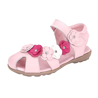 perfekte Qualität Qualität und Quantität zugesichert offizielle Bilder Juleya Mädchen Geschlossene Sandalen mit Blume,Leder Lauflernschuhe  Beleuchtet Prinzessin Schuhe Halbsandalen Klettverschluss,Gr.21-37