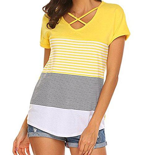 (Women's Casual Short Sleeve T-Shirt, Criss Cross Front V-Neck Color Block Stripe Tee Blouse, Summer Basic Tunic Tops Yellow)