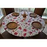 Elastic Edged Flannel Backed Vinyl Fitted Table Cover WATERCOLOR PATTERN - Large Round - Fits tables 45
