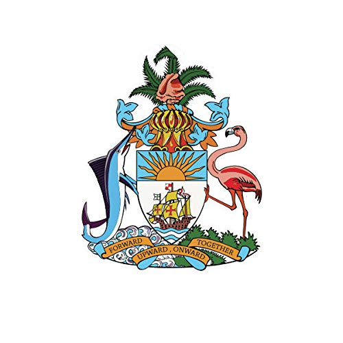 Morgan Graphics Bahamian Coat of Arms Sticker Decal Vinyl Bahamas Flag BHS BS Vinyl Decal Sticker Car Waterproof Car Decal Bumper Sticker 5