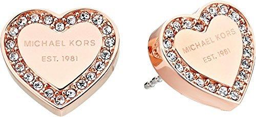 - Michael Kors MK Logo Heart Rose Goldtone Post Earrings