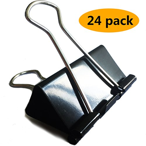 FirstStationery - XL Large Binder Clips(24 Pack) - 2in Jumbo Black Metal Clip with Big Capacity - Office School Paper and File Holder (Inch Binder Capacity Two Hanging)