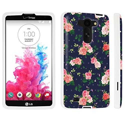 DuroCase ® LG G Vista VS880 / D631 Hard Case White - (Navy Roses)
