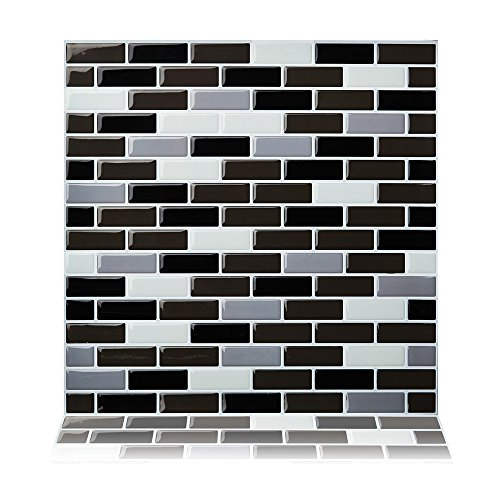 Cocotik Peel and Stick Tile 10''x10'' Self Adhesive 3D Wall Tile in Brown, Pack of 10(7 sq.ft) by Cocotik