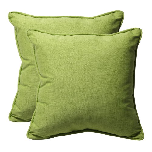 Pillow Perfect Decorative Green Textured Solid Square Toss Pillows, 2-Pack