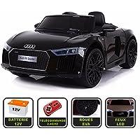 Voiture de sport électrique 12V pour enfant Audi R8 Spyder Cristom® -Télécommande 2.4Ghz- Slot USB et prise MP3 - Licence Audi (noir)