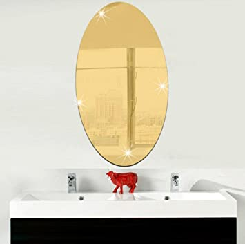 Amazon.com: Amacok Mirror Oval Self Adhesive Wall Stickers Modern ...