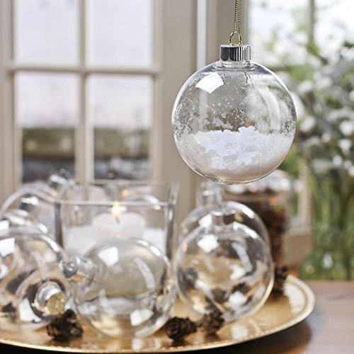 Creative Hobbies 67mm (2-5/8 Inch) Round Clear Plastic Ball Ornaments -Great for Crafting -Bulk Pack of 25