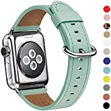 Apple Watch Band 38mm, WFEAGL Retro Top Grain Leather Band Replacement Strap with Stainless Steel Clasp for iWatch Series 2,Series 1,Sport, Edition (38mm Mint Green Band)
