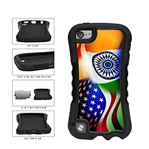 India and USA Mixed Flag 2-Piece Dual Layer Phone Case Back Cover Apple iPod Touch 5th Generation