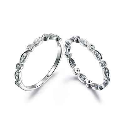 Amazon.com  2pcs Diamond Wedding Matching Bands Set 3ad1e5628