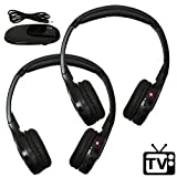 [2 Pack] Wireless TV Headphones [No Latency] Hearing Aid - RF FM Stereo, 3.5mm Jack Dual Channel AUTOTAIN CLOUD